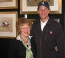 Terry at HOYS 2011 enjoying the company of one of the collectors of her work - French show jumper Kevin Staut, at the time ranked No 1 in the Rolex World Show Jumping Rankings and now Olympic Team Show Jumping Gold Medal Winner 2016.