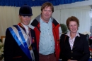 Terry with Zara Philips and Jimmy Blackshaw (Cantor Sporting Index) after Terry had presented a painting to them as the winning owners of 'Toytown' at the European Eventing Championships, Blenheim, September 2005.