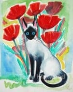 Siamese & Poppies