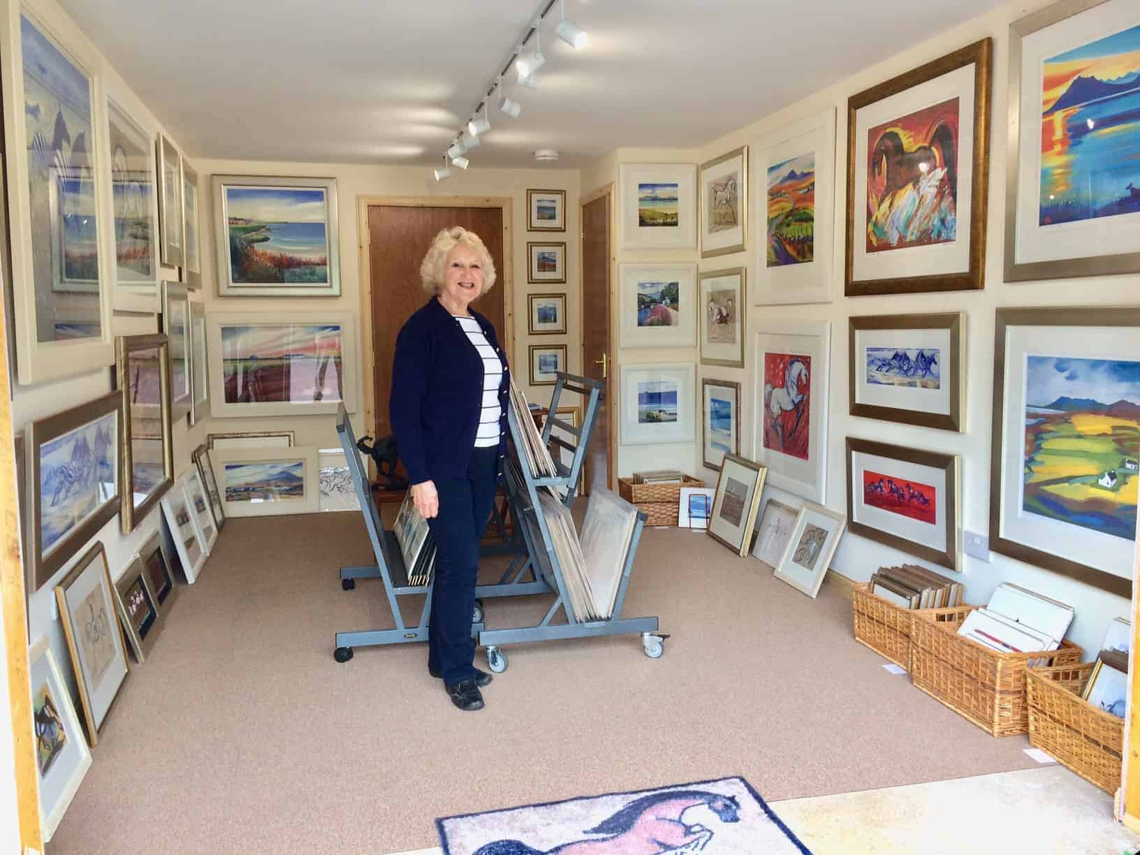 Terry in her new studio/gallery near Pitlochry